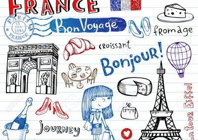 France symbols as funky doodles